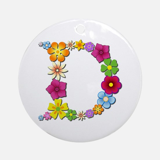 D Bright Flowers Round Ornament