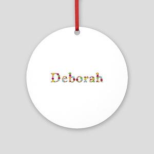 Deborah Bright Flowers Round Ornament