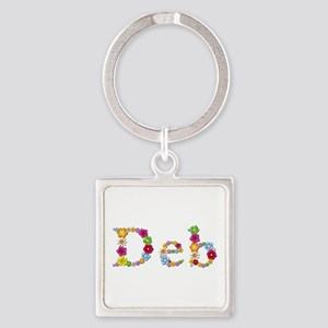 Deb Bright Flowers Square Keychain