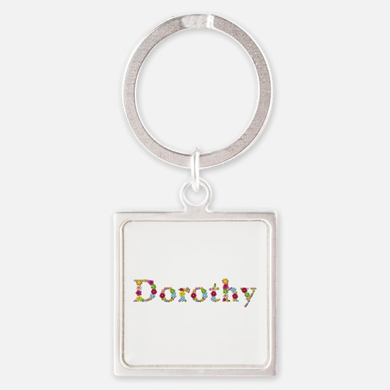Dorothy Bright Flowers Square Keychain
