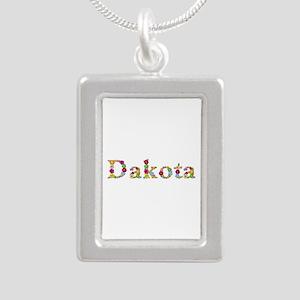 Dakota Bright Flowers Silver Portrait Necklace