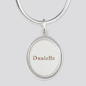 Danielle Bright Flowers Silver Oval Necklace
