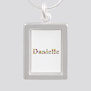 Danielle Bright Flowers Silver Portrait Necklace