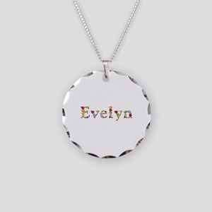 Evelyn Bright Flowers Necklace Circle Charm