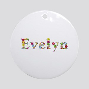 Evelyn Bright Flowers Round Ornament