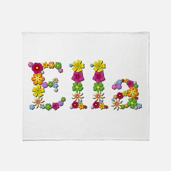 Ella Bright Flowers Throw Blanket