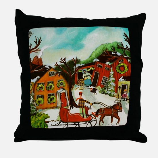 Fetching the Christmas Tree Throw Pillow