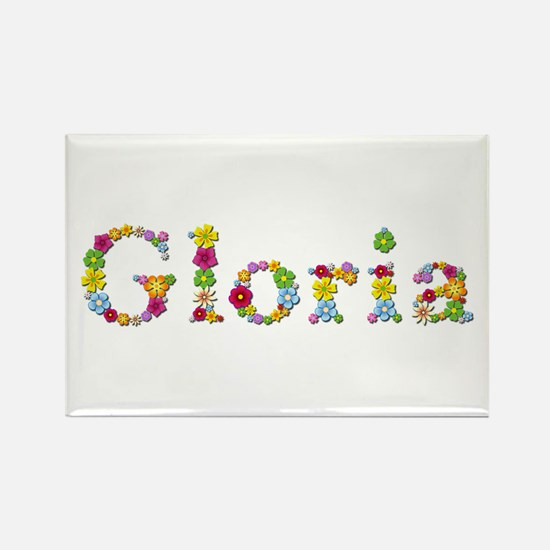 Gloria Bright Flowers Rectangle Magnet