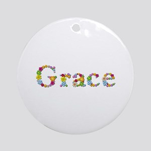 Grace Bright Flowers Round Ornament