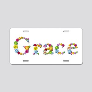 Grace Bright Flowers Aluminum License Plate