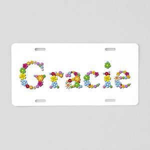 Gracie Bright Flowers Aluminum License Plate