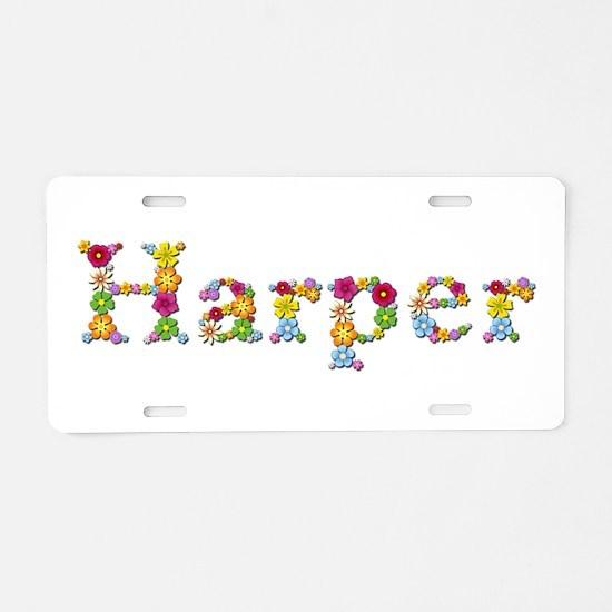 Harper Bright Flowers Aluminum License Plate