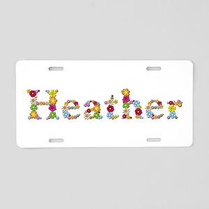 Heather Bright Flowers Aluminum License Plate