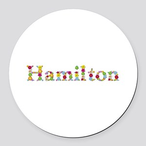 Hamilton Bright Flowers Round Car Magnet