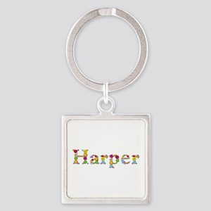 Harper Bright Flowers Square Keychain