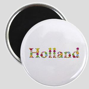 Holland Bright Flowers Round Magnet