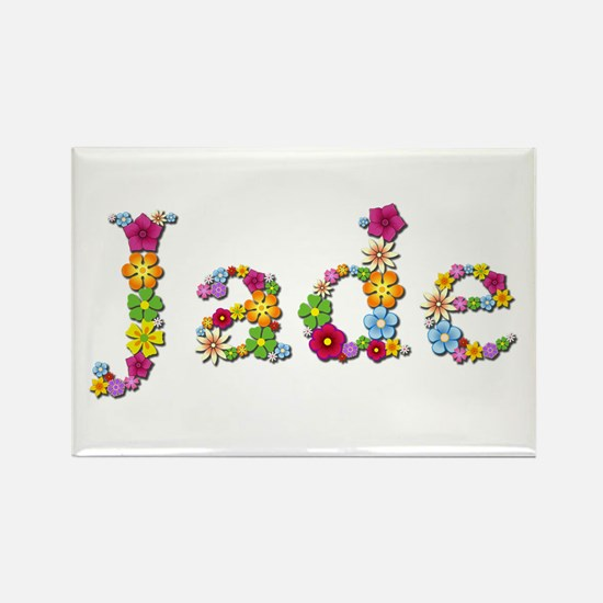 Jade Bright Flowers Rectangle Magnet