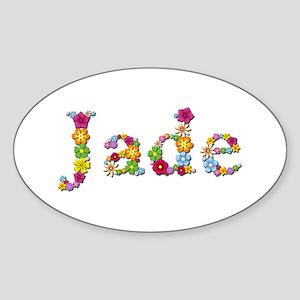 Jade Bright Flowers Oval Sticker
