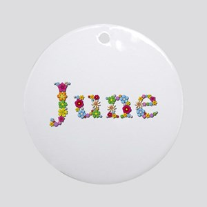 June Bright Flowers Round Ornament