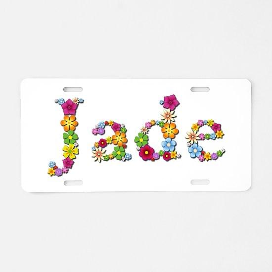 Jade Bright Flowers Aluminum License Plate