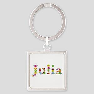 Julia Bright Flowers Square Keychain
