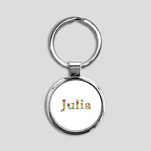 Julia Bright Flowers Round Keychain