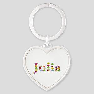 Julia Bright Flowers Heart Keychain