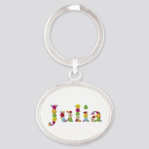 Julia Bright Flowers Oval Keychain