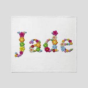 Jade Bright Flowers Throw Blanket