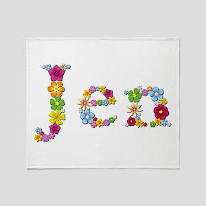 Jen Bright Flowers Throw Blanket