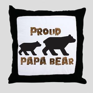 Proud Papa Bear Throw Pillow