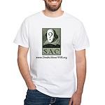 SAC Logo White T-Shirt (green logo & type)