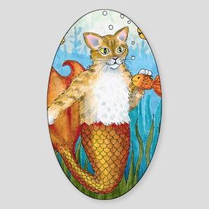 Cat Mermaid 27 Sticker (Oval)