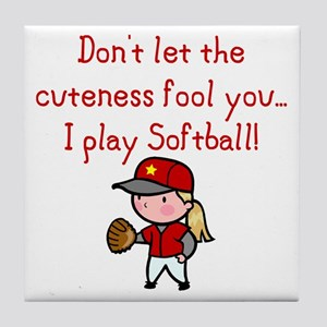 Softball Girl Tile Coaster