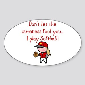 Softball Girl Oval Sticker