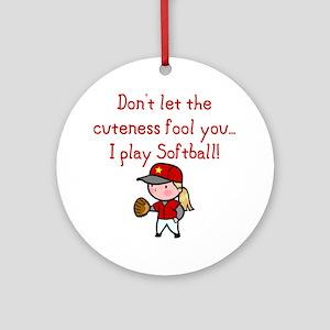 Softball Girl Ornament (Round)