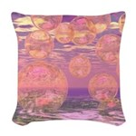 Glorious Skies Abstract Pink Woven Throw Pillow