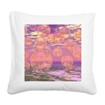 Glorious Skies Abstract Pink Square Canvas Pillow