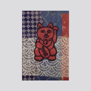 Lucky Cat in Red Rectangle Magnet