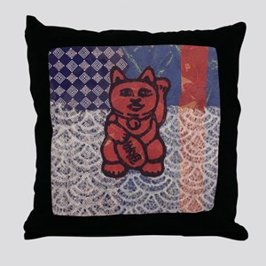 Lucky Cat in Red Throw Pillow