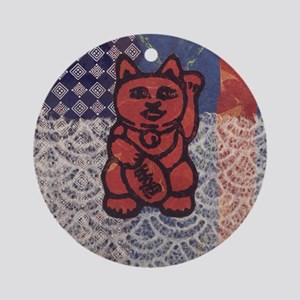 Lucky Cat in Red Round Ornament