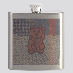 Lucky Cat in Red Flask