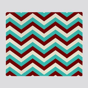 Turquoise  and Burgundy Chevrons Throw Blanket