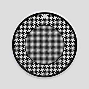 Black | White Houndstooth Pattern Round Ornament