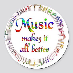 Music Makes it Better Round Car Magnet