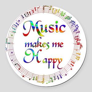 Music Makes Me Happy Round Car Magnet