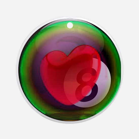 Eightball Heart Round Ornament