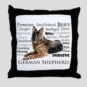 German Shepherd Traits Throw Pillow