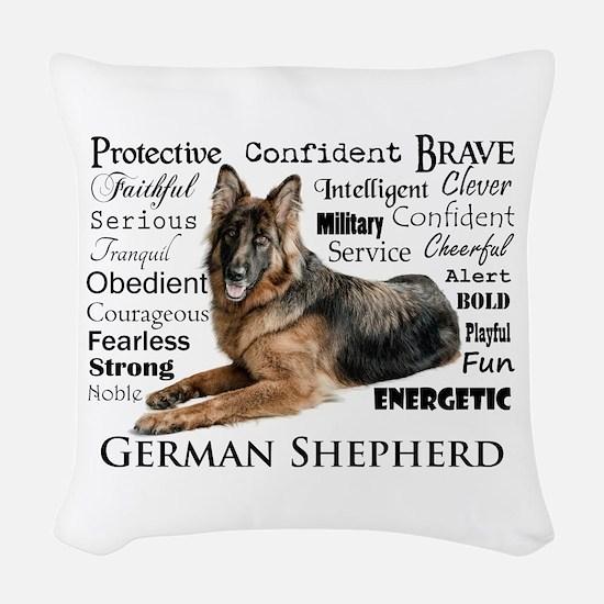 German Shepherd Traits Woven Throw Pillow