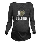 I Heart My Soldier Long Sleeve Maternity T-Shirt